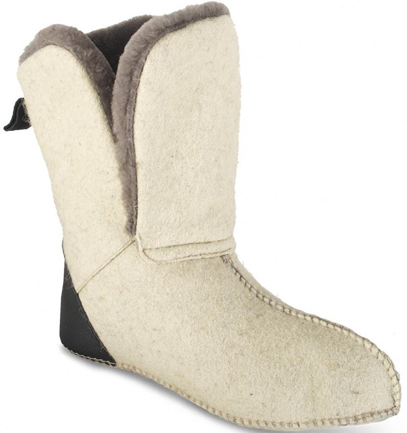 Чулок ХСН войлочный «Лось» (Белый - Мех, Чулки<br>Чулки выполнены из натурального войлока <br>и меха. Могут использоваться для сна в спальнике <br>и как самостоятельная обувь в доме. Особенности: <br>- в пяточной части нашита деталь из натуральной <br>кожи; - петля из стропы; - внутренняя стелька <br>- войлок.<br><br>Пол: мужской<br>Размер: 45<br>Сезон: зима<br>Цвет: белый<br>Материал: войлок