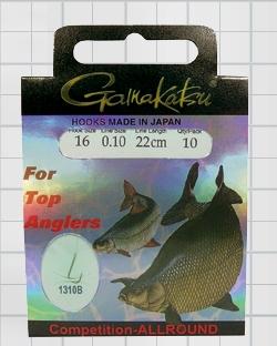 Крючок GAMAKATSU BKS-1310B Allround 22см Comp №12 d поводка Одноподдевные<br>Оснащенные универсальные поводки для ловли <br>в условиях соревнований, длинной 22 см и <br>диаметром сечения 0,12<br>