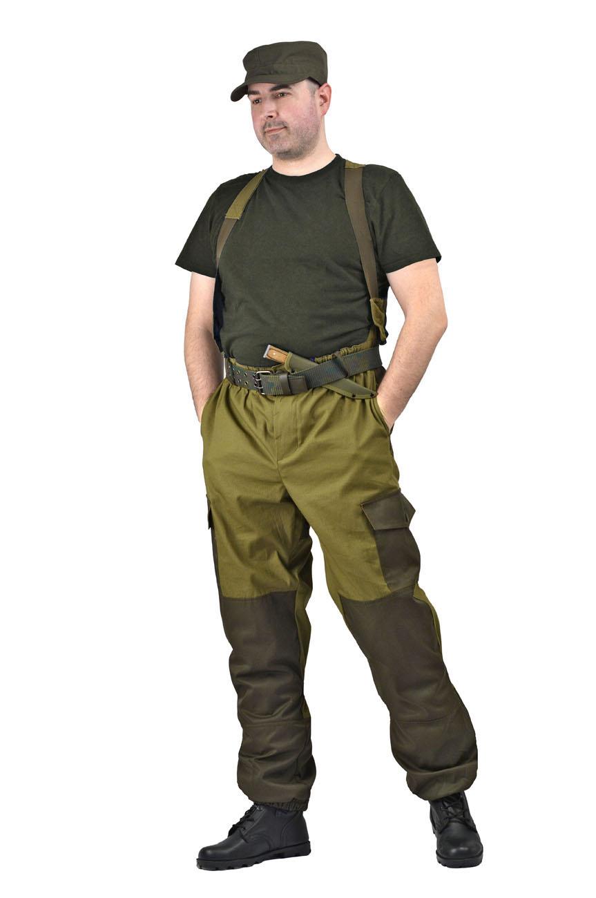Брюки мужские Горка 3 летние палатка хаки Брюки неутепленные<br>Брюки: • свободного покроя; • гульфик <br>с застёжкой на петлю и пуговицу; • 2 верхних <br>кармана в боковых швах, • в области коленей, <br>на задних половинках брюк в области сидения <br>– усиливающие накладки; • 2 боковых накладных <br>кармана с клапаном; • 2 задних накладных <br>фигурных кармана на пуговицах; • крой деталей <br>в области коленей препятствует их вытягиванию; <br>• Пылезащитная юбка из бязи по низу брюк; <br>• задние половинки под коленом собраны <br>резинкой; • пояс на резинке; • низ на резинке;<br><br>Пол: мужской<br>Размер: 44-46<br>Рост: 170-176<br>Сезон: лето<br>Цвет: оливковый