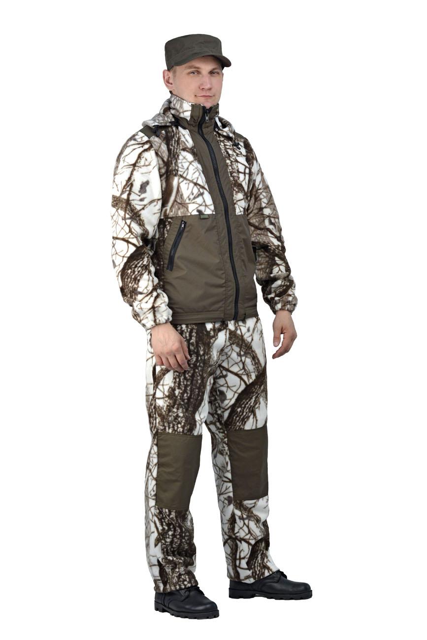 Флисовый костюм Панда кмф Зимний лес Костюмы флисовые<br>Куртка мужская прямого силуэта из флиса <br>в комбинации с плащевой тканью. Длина изделия <br>до линии бедер. Полочка с центральной открытой <br>застежкой на тесьму-молнию, горизонтальным <br>членением и настрочной усиливающей кокеткой <br>на верхней части. Нижняя часть полочки с <br>настрочным усиливающим карманом. Вход в <br>карман обработан на тесьму-молнию. Спинка <br>со средним швом и усиливающей настрочной <br>кокеткой. Рукав втачной одношовный, с усиливающей <br>фигурной накладкой в области локтя. В низ <br>рукава вставлена тканево-резиновая тесьма. <br>По верхнему краю воротника-стойки и низу <br>изделия настрочена утягивающая кулиса. <br>Брюки свободного покроя с карманами в боковых <br>швах. Верхний срез брюк с цельновыкроенным <br>поясом, в пояс вставлена тканево-резиновая <br>тесьма, простроченная посередине. Наколенники <br>из отделочной ткани.<br><br>Пол: мужской<br>Размер: 52-54<br>Рост: 170-176<br>Сезон: демисезонный<br>Цвет: оливковый<br>Материал: Флис, пл.350г/м2, антипилинговый