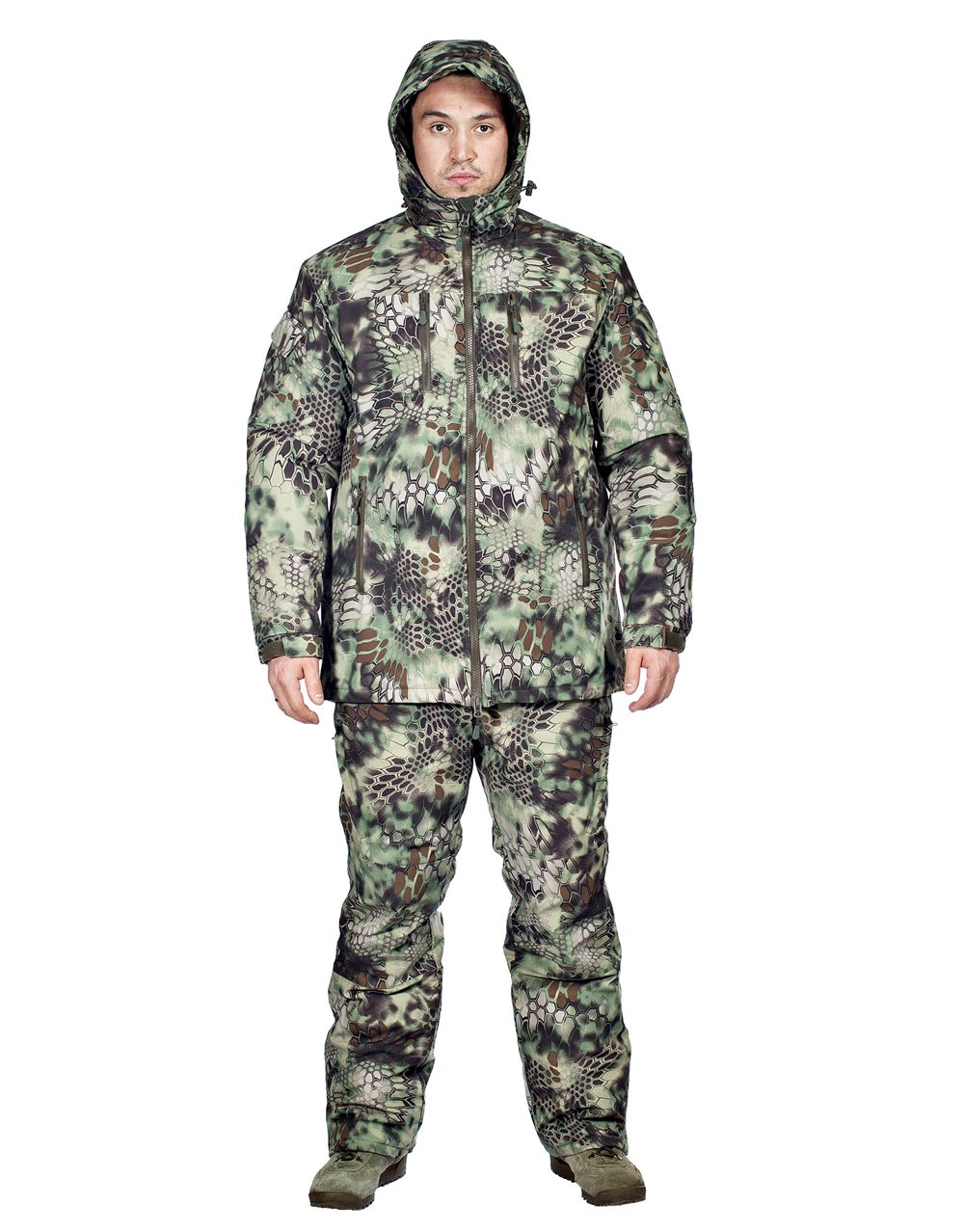Костюм зимний МПА-38-01 (мембрана, питон лес), Костюмы утепленные<br>Костюм состоит из брюк с плечевой разгрузочной <br>системой, а также куртки со съемным капюшоном <br>и утепляющей подкладкой. Разработан для <br>подразделений воооруженных сил, действующих <br>в условиях экстремального холода (до -50 <br>градусов Цельсия). ХАРАКТЕРИСТИКИ ЗАЩИТА <br>ОТ ХОЛОДА ДЛЯ ИНТЕНСИВНЫХ НАГРУЗОК ДЛЯ <br>АКТИВНОГО ОТДЫХА ТОЛЬКО РУЧНАЯ СТИРКА МАТЕРИАЛЫ <br>МЕМБРАНА УТЕПЛИТЕЛЬ ФАЙБЕРСОФТ<br><br>Пол: мужской<br>Размер: 56<br>Рост: 170<br>Сезон: зима<br>Цвет: зеленый<br>Материал: мембрана