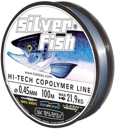 Леска BALSAX Silver Fish 100м 0,45 (21,9кг)Леска монофильная<br>Леска Silver Fish - предназначена прежде всего <br>для крупных, сильных рыб, поскольку у этой <br>лески отличная прочность на узле, а также <br>лучшее сочетание механической прочности <br>и контролируемой растяжимости. Она спроектирована <br>для получения максимальной прочности в <br>местах вязки узлов, сопротивления к истиранию <br>и низкого уровня деформации.<br><br>Сезон: лето