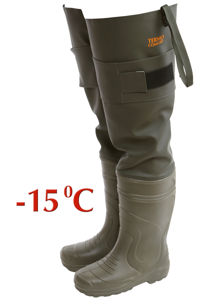 Сапоги рыбацкие мужские Haski-light(ЭВА) С095(-15С) Болотные сапоги<br>Сапоги изготовлены из материала ЭВА на <br>основе объемной и удобной колодки. Оригинальный <br>рисунок протектора подошвы разработан <br>специально для увеличения сопротивления <br>скольжению и лучшего сцепления с поверхностью <br>почвы. Надставка сапога из водонепроницаемого <br>морозостойкого материала. Верхняя часть <br>сапога крепится к ремню брюк при помощи <br>тесьмы с пряжкой-замком. Манжета с липучкой <br>дополнительно фиксирует надставку на ноге. <br>Надставка в сложенном виде стягивается <br>манжетой на сапоге. Упаковка: индивидуальная <br>коробка и групповая упаковка по 4 пары.<br><br>Пол: мужской<br>Сезон: зима<br>Цвет: оливковый<br>Материал: полимеры