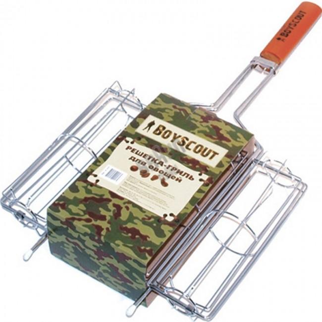 Решетка-гриль BOYSCOUT 280х210х70мм для овощейРешетки, сковороды для гриля<br>Решетка-гриль для овощей Решетка-гриль <br>Boyscout 61335 имеет удобный размер в 29 см на 21 <br>см, а также прекрасную деревянную ручку <br>и металлический корпус. Всё это сделает <br>идеальные условия для жарки овощей над <br>огнём. Специальное расположение прутьев <br>решётки сделает овощи необыкновенно вкусными.<br>