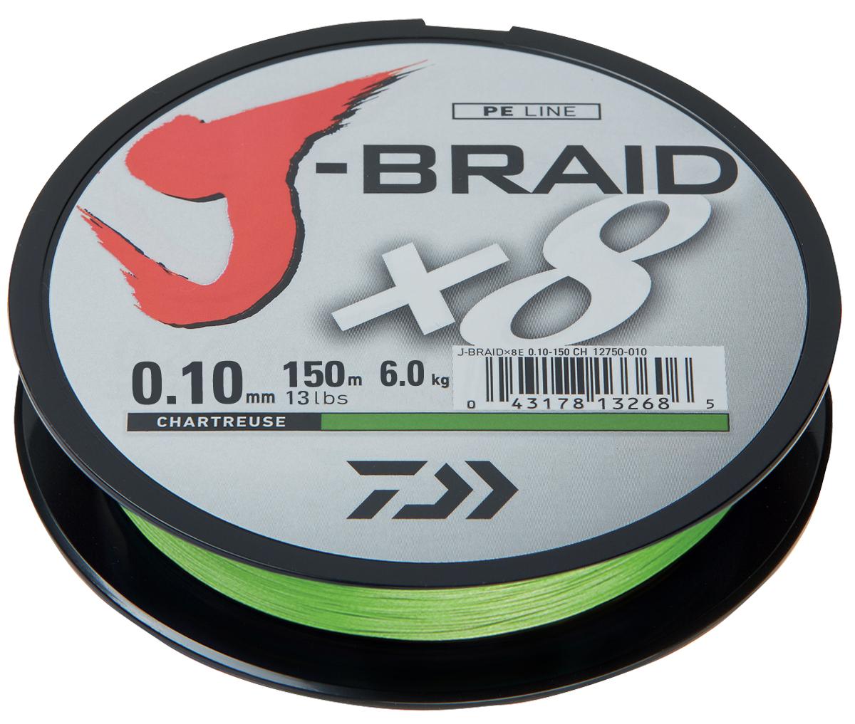 Леска плетеная DAIWA J-Braid X8 0,10мм 150м (флуор.-желтая)Леска плетеная<br>Новый J-Braid от DAIWA - исключительный шнур с <br>плетением в 8 нитей. Он полностью удовлетворяет <br>всем требованиям. предьявляемым высококачественным <br>плетеным шнурам. Неважно, собрались ли вы <br>ловить крупных морских хищников, как палтус, <br>треска или спйда, или окуня и судака, с вашим <br>новым J-Braid вы всегда контролируете рыбу. <br>J-Braid предлагает соответствующий диаметр <br>для любых техник ловли: море, река или озеро <br>- невероятно прочный и надежный. J-Braid скользит <br>через кольца, обеспечивая дальний и точный <br>заброс даже самых легких приманок. Идеален <br>для спиннинговых и бейткастинговых катушек! <br>Невероятное соотношение цены и качества! <br>-Плетение 8 нитей -Круглое сечение -Высокая <br>прочность на разрыв -Высокая износостойкость <br>-Не растягивается -Сделан в Японии<br>