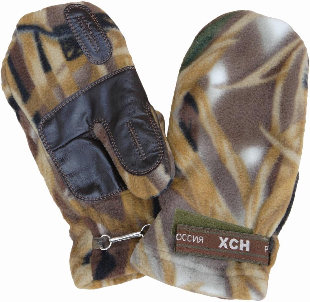 Варежки охотника ХСН флис-кожа (735-3) (Камыш, Варежки<br>Модель предназначена специально для охотников. <br>Конструкция позволяет стрелять из оружия, <br>не снимая их.<br><br>Размер: M-L<br>Сезон: зима<br>Материал: флис