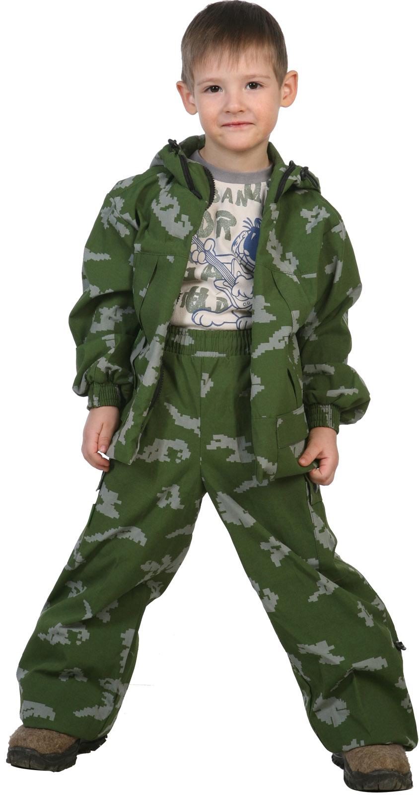 Костюм детский Казаки-Разбойники (116)Костюмы неутепленные<br>Костюм летний 100%х/б - центральная застежка <br>на молнию; - капюшон с регулировкой лицевой <br>части по высоте резиновым шнуром с фиксаторами; <br>- манжет рукава с эластичной тесьмой; - регулировка <br>низа куртки и брюк по ширине резиновым шнуром; <br>- количество карманов - 4.<br><br>Пол: унисекс<br>Рост: 116<br>Сезон: лето<br>Материал: хлопок