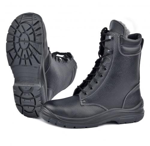 Ботинки с высоким берцем Профит на иск.меху Берцы<br>Универсальная высокотехнологичная модель <br>обеспечит комфорт и надежную защиту Ваших <br>ног, но главное – снизит травматизм. Верх <br>ботинок выполнен из натуральной кожи повышенной <br>толщины 2,0-2,2мм. Искусственный мех высокой <br>плотности сохраняет тепло даже в сильный <br>мороз. Двухслойная ПУ/ТПУ подошва обеспечивает <br>хорошее сцепление с поверхностью при температуре <br>от -45 до +120С в статическом положении, а при <br>ходьбе до +150С. Подошва устойчива к воздействию <br>агрессивных сред, МБС, КЩС. Вся область каблука <br>специально спроектирована таким образом, <br>чтобы поглощать удар (амортизировать) при <br>толчке и снижать ощущение усталости, передаваемое <br>на тело. Толщина подошвы обеспечивает отличную <br>теплоизоляцию. Самоочищающийся протектор. <br>Высота берец 225мм. ГОСТ28507-99, ГОСТ12.4.137-2001, <br>ТР ТС019/2011<br><br>Пол: мужской<br>Размер: 46<br>Сезон: зима<br>Цвет: черный<br>Материал: натуральная кожа