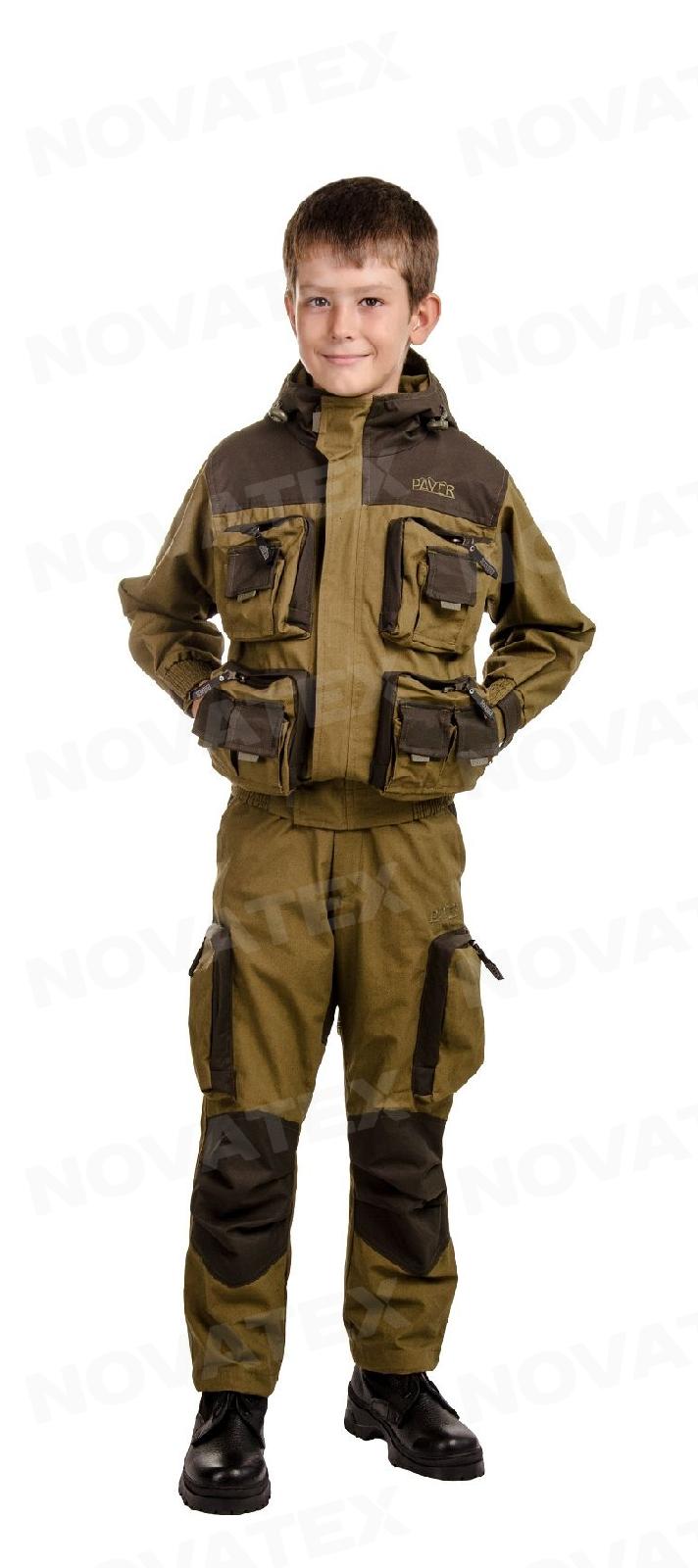 Костюм «Пайер» (палатка, хаки) PAYER детский Костюмы неутепленные<br>Костюм Payer (тм Payer) от Novatex – практичный и <br>надежный костюм для отдыха на природе, охоты <br>и рыбалки. Костюм Пайер проектировался <br>как ответ на запросы клиентов на качественный <br>универсальный костюм. Состоит костюм из <br>укороченной куртки и полукомбинезона. Анатомический <br>крой позволяет легко и свободно двигаться. <br>Куртка, благодаря обработке на поясной <br>машинке, плотно прилегает по бедрам, не <br>пропуская ни мошку, ни ветер. Бретели <br>позволяют отрегулировать полукомбинезон <br>по фигуре. В более теплую погоду спинку <br>полукомбинезона можно отстегнуть. В костюме <br>Payer можно разместить по карманам все необходимые <br>мелочи: семнадцать карманов, в том числе <br>шесть объемных и один внутренний для документов. <br>Костюм изготавливается из надежных, проверенных <br>временем хлопковых тканей: палатка и канвас. <br>Эти 100% натуральные ткани прекрасно защищают <br>от ветра, почти мгновенно сохнут, пропускают <br>воздух (позволяя телу «дышать»). Подкладка <br>из мягкого гипоаллергенного флиса обеспечивает <br>комфорт и тепло. Места повышенного износа <br>имеют дополнительное усиление мембранной <br>тканью «Кошачий глаз», которая не пропускает <br>влагу снаружи, отводит ее изнутри и обладает <br>повышенной износостойкостью. Рекомендован <br>для туристов, охотников, рыбаков и всех <br>любителей активного отдыха в осенне-весенний <br>и летний период.<br><br>Пол: унисекс<br>Сезон: лето<br>Цвет: оливковый