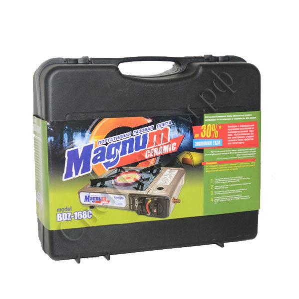 Плита газовая Еврогаз Magnum BDZ 168 CПлиты<br>Портативная керамическая газовая плитка <br>Magnum Ceramic с переходником. Работает от одного <br>высокого газового баллона, который помещается <br>внутри плиты. Беcшланговая конструкция, <br>баллон прикрепляется к газовому прибору. <br>В плите предусмотрена возможность использовать <br>дополнительный штуцер для подключения <br>бытовых газовых баллонов от 5 до 50 литров. <br>В конструкции плиты используется горелка <br>с керамической поверхностью, в которой <br>сгорание газа происходит не в открытом <br>пространстве, как у плит со стандартными <br>горелками, а в цилиндрических сотах по всей <br>поверхности керамического материала. При <br>этом, первоначальному нагреву подвергается <br>керамический материал горелки, который <br>и излучает тепло. Таким образом, на верхней <br>поверхности керамической горелки полностью <br>отсутствует открытое пламя. Кроме того, <br>снижается общий расход топлива на фоне <br>увеличения КПД самого прибора. Поставляется <br>в удобном пластиковом кейсе. Характеристики: <br>размер: 330*250*80 мм. мощность: 2.5 кВт. максимальный <br>расход газа 130 гр/час. число конфорок: 1 шт. <br>газовый баллон в комплект не входит. при <br>использовании плиты с газовым баллоном <br>(от 5 до 50 л) необходим редуктор (в комплект <br>не входит).<br>