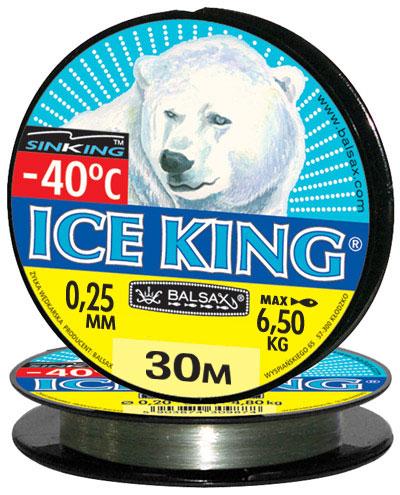 Леска BALSAX Ice King 30м 0,25 (6,5кг)Леска монофильная<br>Леска Ice King - создана специально для зимней <br>ловли. Очень хорошо выдерживает низкую <br>температуру. Поверхность обработана таким <br>образом, что она не обмерзает как стандартные <br>лески. Отлично подходит для подледного <br>лова. Даже в самом холодном климате, при <br>температуре до -40, она сохраняет свои свойства.<br><br>Сезон: зима
