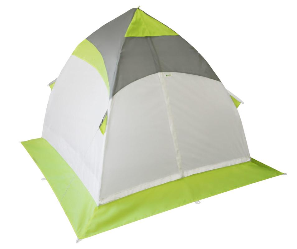 Палатка-зонт зимняя ЛОТОС 1 (белый/зеленый)Палатки зимние<br>Легкая одноместная палатка «ЛОТОС 1» для <br>зимней рыбалки, позволяет комфортно разместиться <br>одному человеку с рюкзаком и снаряжением. <br>Применение в конструкции палатки эксклюзивного, <br>запатентованного механизма зонтичного <br>типа обеспечивает ее быстрое и эффективное <br>раскрытие и установку. Палатка разработана <br>с учетом сурового российского климата, <br>что позволяет использовать ее в экстремальных <br>погодных условиях. Каркас палатки собран <br>из дорогих, высокопрочных материалов – <br>легких трубчатых элементов (авиационный <br>сплав Д16Т). Тент палатки изготовлен из современных <br>высокотехнологичных тканей с водонепроницаемым <br>покрытием, обеспечивающих надежную защиту <br>от атмосферных осадков, сильного ветра <br>и мороза. По нижнему периметру палатка «ЛОТОС <br>1» снабжена широкими, цельными (!) защитными <br>юбками — внутренней (16 см) и внешней (32 см), <br>при этом внешняя юбка имеет дополнительные <br>усиленные крепления для ввертышей. Полноценная <br>двойная юбка обеспечивает палатке повышенную <br>защиту от ветра. Наличие вентиляционного <br>клапана на утяжке позволяет регулировать <br>приток свежего воздуха и предотвращает <br>образование конденсата. В дополнении к <br>клапану снаружи предусмотрен регулируемый <br>козырек, который защищает клапан от попадания <br>осадков. Изнутри палатка снабжена карманами <br>для вещей и удильников, а также навесной <br>полкой под потолком. Окраска палатки выполнена <br>в ярко-салатовом цвете, и даже в самый пасмурный <br>день в ней будет всегда светло и уютно. Для <br>безопасности в ночное время предусмотрены <br>светоотражающие окантовки ребер и растяжки. <br>Палатки «ЛОТОС» производятся в России! <br>Имеют высокие технические характеристики <br>(прочность, надежность, комфорт, вес, скорость <br>раскрытия) при достаточно демократичной <br>цене! Базовая комплектация: Палатка в сборе <br>- 1 шт Сумка-чехол - 1 шт Комплект растяжек <br