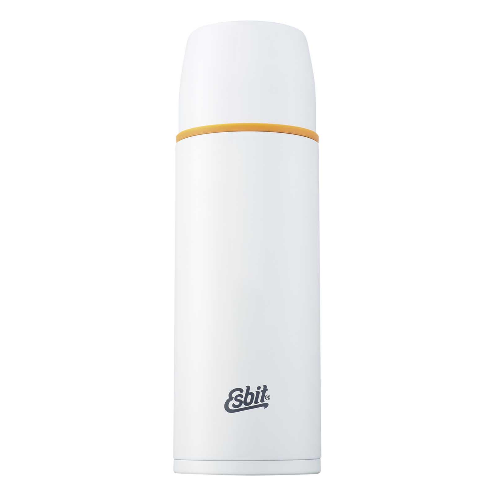 Термос Esbit POLAR, новый дизайн, бело-оранжевый, Термосы<br>Описание термоса Esbit POLAR: Термос из нержавеющей <br>стали с двумя чашками и дополнительной <br>пробкой. Удобно наливать напитки. Высококачественная <br>конструкция термоса сохраняет напитки <br>холодными / горячими длительное время. Особенности: <br>высококачественная нержавеющая сталь крышка <br>превращается в 2 чашки сохраняет напитки <br>холодными / горячими длительное время внутренний <br>пробка с возможностью наливания жидкости <br>удобно мыть дополнительная пробка с резьбой <br>Характеристики: При температуре воды ~ 98° <br>C и температуре окружающей среды ~ 20° C ± <br>2° С температура напитка: Через 6 ч: ~ 85° C <br>Через 12 ч: ~ 75° C Через 24 ч: ~ 60° C Технические <br>характеристики: Материал: нержавеющая сталь <br>Размер: 275 х ? 90 мм Вес: 537 г Объем: 1000 мл<br>