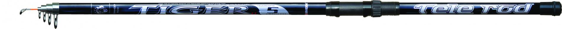 Удилище тел. SWD Tiger 5м c/кУдилища поплавочные<br>Телескопическое удилище из стеклопластика, <br>оснащенное проводочными кольцами. Основные <br>характеристики удилища: длина 5,0м (в сложенном <br>состоянии 115см), количество секций - 5, максимальный <br>вес оснастки - до 25г. Характеризуется средним <br>строем, высокой прочностью и эластичностью <br>бланка. Рекомендуется для поплавочной ловли <br>как с берега, так и для ловли с лодки.<br>