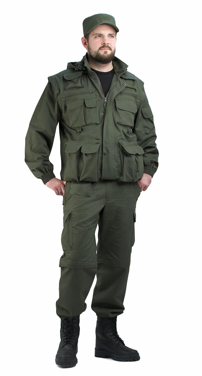 Костюм мужской Gerkon Commando Transform олива т.CottonPeach Костюмы неутепленные<br>Костюм куртка и брюки Многофункциональная <br>модель-трансформер (куртка-жилет + брюки-шорты) <br>- Многофункциональные объёмные карманы <br>- отстегивающиеся рукава и низ брюк – съемный <br>капюшон на подкладке-сетка с регулировкой <br>объема – складки на спинке для свободы <br>движения – короткая куртка на резинке - <br>полочки на подкладке-сетка – регулировка <br>объема по низу брючин<br><br>Пол: мужской<br>Размер: 44-46<br>Рост: 170-176<br>Сезон: лето<br>Цвет: оливковый<br>Материал: Ткань 100% хлопок, CottonPeach