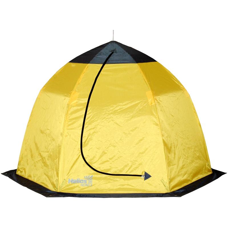 Палатка-зонт 2-местная зимняя NORD-2 HeliosПалатки зимние<br>Палатка для зимней рыбалки на быстросборном <br>каркасе зонтичного типа: двухместная (высота <br>-1500 мм, диаметр (по низу) - 2170мм). Материал <br>тента: Oxford 210D, PU 1000. Высокопрочный каркас <br>из композитных материалов диаметром 8 мм. <br>Широкая ветрозащитная юбка предохраняет <br>от воздействия внешних факторов. Вход в <br>палатку застегивается на усиленную молнию. <br>Вентиляционное окно, за счет которого создается <br>комфортный микроклимат внутри палатки. <br>Внутренний карман для различных мелочей. <br>Палатка легко разбирается и компактно укладывается <br>в сумку для переноски. Вес палатки -3,6 кг.<br>