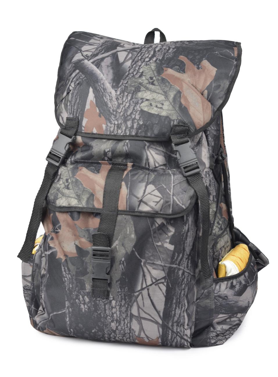 Рюкзак Охота 30 литровРюкзаки<br>Недорогой практичный рюкзак ОХОТА выполнен <br>из ткани оксфорд 600D с водоотталкивающей <br>пропиткой, которая защищает от осадков <br>и облегчает чистку изделия. Упрощенная <br>конструкция имеет один основной отсек, <br>горловина которого утягивается шнуром <br>и фиксируется при помощи кулиски. Для максимальной <br>защиты рюкзак закрывается откидным клапаном <br>с фиксацией на два ремешка с фастексами. <br>Извне имеются три накладных карман. По бокам <br>предусмотрена шнуровка для утяжки. Анатомическая <br>прокладка на спинке. Плечевые лямки регулируются <br>по росту. Подходит для охоты, рыбалки и активного <br>отдыха.<br>