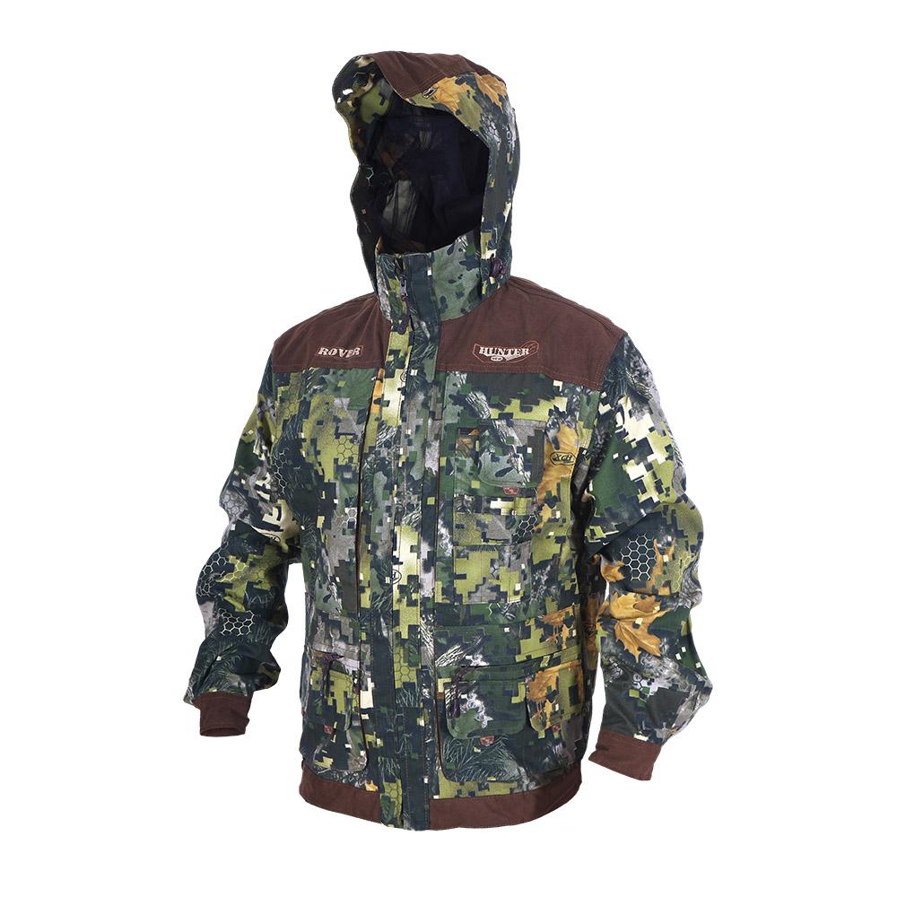 Куртка ХСН «Ровер-охотник» (9792-21) (Лес-1, Куртки неутепленные<br>Отлично подойдет любителям охоты и активного <br>отдыха. Куртка изготовлена из нешуршащей <br>хлопкоэфирной ткани с водоотталкивающей <br>пропиткой. Комфортная температура эксплуатации: <br>от +10°С до +20°С. Особенности: - утягивающийся <br>съемный капюшон с козырьком; - вшитая противомоскитная <br>сетка; - 11 объемных карманов, позволяющих <br>удобно разместить в них флягу, телефон и <br>все необходимое; - особый крой рукава, обеспечивающий <br>свободу движения; - застегивается на молнию; <br>- усиленная ткань на плечах; - манжеты на <br>пуговицах с возможностью регулировки ширины; <br>- двойной джинсовый запошивочный шов.<br><br>Пол: мужской<br>Размер: 62 - 64 / 188<br>Сезон: лето<br>Цвет: зеленый<br>Материал: Хлопкополиэфирная ткань