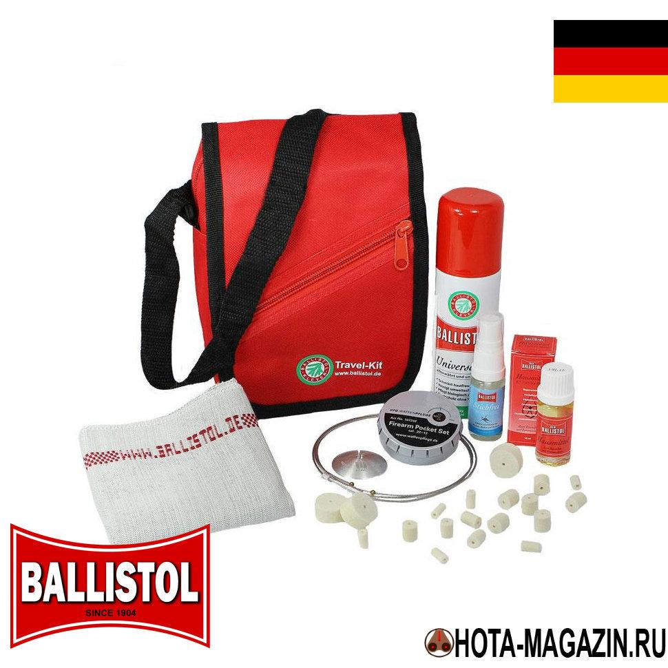 Набор для чистки оружия в походных условиях Наборы для чистки оружия<br>Набор для чистки оружия в походных условиях <br>Ballistol Travel-Kit это идеальный вариант для ухода <br>за оружием в дороге, благодаря компактному <br>размеру и оптимальному содержанию необходимых <br>средств. Удобная сумка набора Ballistol Travel-Kit <br>яркого красного цвета заметна в багаже <br>и на природном ландшафте - легко найти и <br>сложно потерять. Оружейное масло Ballistol известно <br>почти всем своей непревзойденностью и универсальностью <br>для чистки оружия. Репеллент Stichfrei поможет <br>защититься от назойливых насекомых во время <br>кропотливого процесса чистки оружия. Эфирное <br>масло Neo-Ballistol отлично подходит для дезинфекции <br>ран и очистки рук (при использовании набора <br>есть вероятность повредить кожу тросиком <br>и загрязнить руки маслом со снятыми с оружия <br>загрязнениями). Большая салфетка поможет <br>разместить части оружия инструменты и средства <br>на время чистки не на голой земле и вытереть <br>после завершения чистки оружия инструменты <br>и руки. Шомпол в виде гибкого троса и шайба <br>для протяжки прекрасно справится с задачей <br>на различных видах калибра (длина 102 см.). <br>Шайба для протяжки цепляется за шарики <br>на тросики в двух местах для удобства протяжки: <br>на конце тросика и на расстоянии 37 см от <br>начала (для пистолетов). Шомпол-тросик снабжен <br>держателем тампонов (патчей) с шнеком для <br>насадки и фиксирующей гайкой: общая длина <br>3 см., шнек 1 см, резьба 1 см. Шайба для протяжки <br>диаметром 37 мм. с одной стороны плоская, <br>а с другой полусферическая. Тросик и шайба <br>хранятся в металлической коробочке с крышкой <br>которая открывается нажатием на нее большим <br>пальцем. Набор для чистки оружия в походных <br>условиях Ballistol Travel-Kit - комплектация: - красная <br>сумка с плечевым ремнем - оружейное масло <br>BALLISTOL 100 мл. (спрей) - репеллент Stichfrei 10 мл. <br>(спрей) - эфирное масло NEO-BALLISTOL 10 мл. 