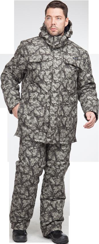 Костюм Sobol КОРГОН утеплённый, камни оливаКостюмы утепленные<br>Костюм отлично подойдет для любителей <br>активного отдыха, рыбалки, охоты в зимний <br>перид. В комплект входит куртка и комбинезон. <br>Защита от пониженных температур воздуха <br>до 40С. КУРТКА: - застегивается на молнию <br>с ветрозащитной планкой; - съемный капюшон; <br>- карманы с фигурными клапанами; - нижние <br>накладные карманы; - внутренний карман для <br>документов; - усиленные вставки на локтях; <br>- внизу боковых швов — разрезы, застегиваются <br>на тесьму-молнию - регулировка объема по <br>талии. ПОЛУКОМБИНЕЗОН: - застегивается на <br>молнию; - усиленные вставки в области коленей; <br>- нагрудный карман для телефона; - боковые <br>и задние карманы; - молнии внизу штанин.<br><br>Пол: мужской<br>Размер: 44-46<br>Рост: 170-176<br>Сезон: зима<br>Цвет: олива<br>Материал: LOKKER LINE, пл. 135 г/м?