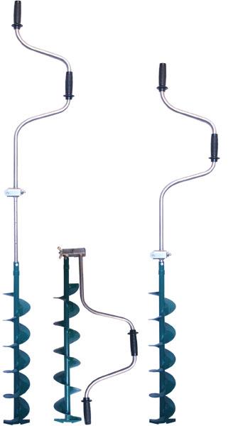 Ледобур ЛР-130Т (130мм) телескопическийЛедобуры ручные<br>Главное отличие телескопических ледобуров <br>от классических моделей – наличие встроенной <br>телескопической штанги-удлинителя . Штанга-удлинитель, <br>встроенная в ось ледобура, имеет четыре <br>фиксированные позиции регулировки (через <br>100 мм), позволяя точно настраивать глубину <br>бурения в соответствии с толщиной льда <br>– от 1000 до 1350 мм. Механизм фиксации выполнен <br>в виде цанги, сжимаемой болтом, который <br>через ось ледобура ввинчивается в приваренную <br>к ней гайку. Такое решение позволяет добиться <br>максимальной прочности зажима, при этом <br>сохраняя соосность ручки и шнека ледобура. <br>Цинковое защитное покрытие штанги-удлинителя, <br>обеспечивает наилучшую стойкость как к <br>механическому воздействию, так и к коррозии. <br>Диаметр бурения 130 мм, вес ледобура 2,95 кг.<br>