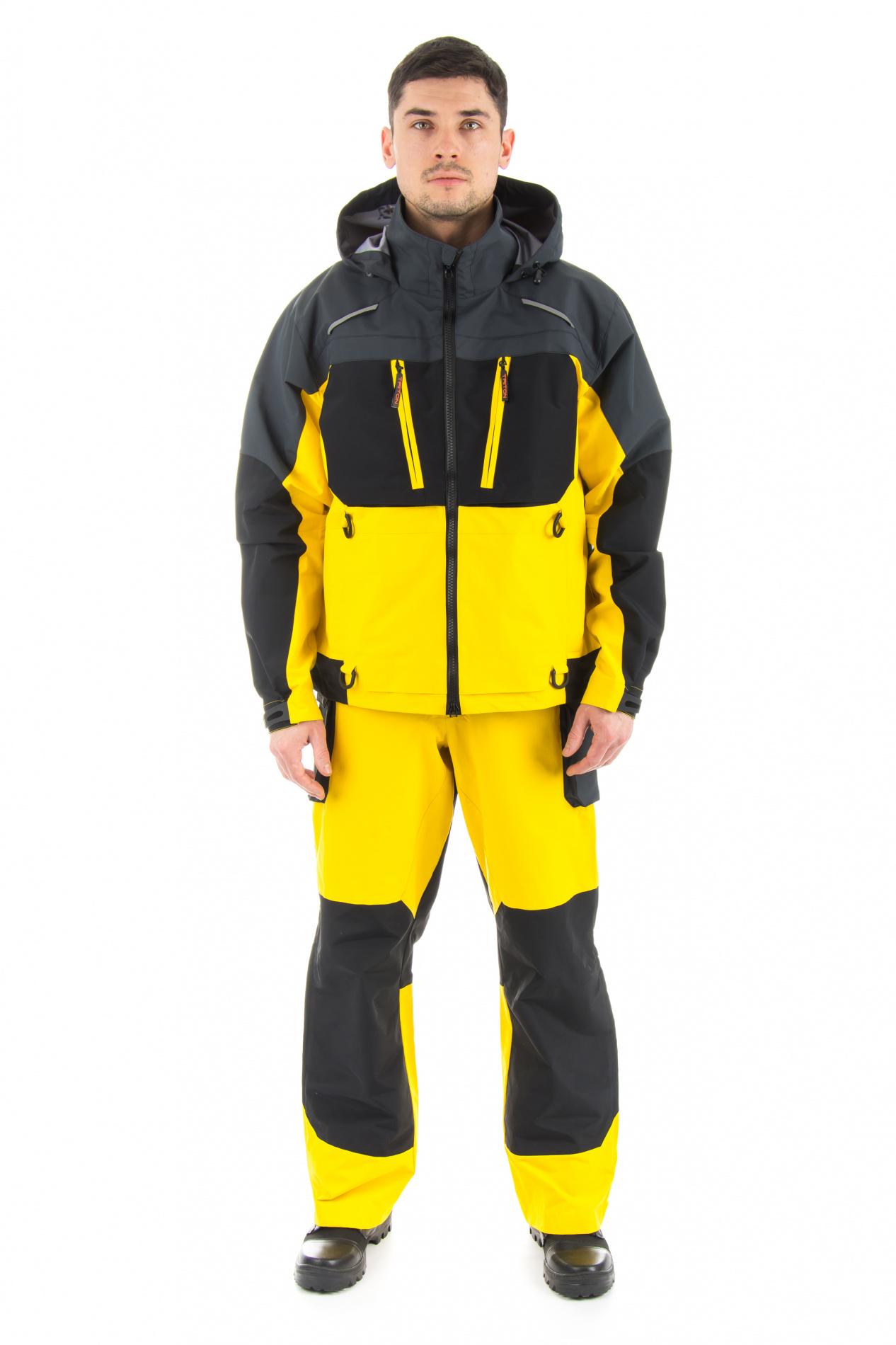 Костюм Extreme (Таслан/Желтый, серый, черный) Костюмы неутепленные<br>Костюм Extreme состоит из куртки и полукомбинезона, <br>разработан для рыбалки в летний период. <br>Удобный костюм не стесняющий движения, <br>изготовленный из качественного материала <br>с комбинированными по цветам тканями. Куртка: <br>1) Объемная укороченная куртка; 2) Анотомический <br>крой; 3) Наличие светоотражающих элементов; <br>4) 4 кармана на молнии; 5) Двойная регулировка <br>объема капюшона; 6) Имеется центральная <br>застёжкой-молния с внутренней защитной <br>планкой; 7) Проклееные швы; 8) Капюшон укладывается <br>в воротник; 9) Низ рукавов с хлястиками на <br>контактной ленте; 10) Низ куртки с эластичным <br>шнуром и фиксаторами. Полукомбинезон: 1) <br>Проклееные швы; 2) Анатомический крой; 3) <br>Наличие светоотражающих элементов; 4) 6 карманов: <br>4 кармана на молнии, 2 нижних накладных кармана <br>увеличивающиеся в объеме; 5) Низ брюк с хлястиками <br>на контактной ленте; 6) По боковому шву от <br>середины бедра молния с защитной планкой <br>до низа; 7) Полукомбинезон на эластичных <br>помочах с фастексами и пряжками. Куртка: <br>1. Центральная дух замковая молния; 2. 4 кармана <br>с тесьмой молния; 3. Капюшон регулируется <br>по объему; 4. Объем низа рукава негулируется <br>патой с контактной лентой.<br><br>Пол: мужской<br>Размер: 52-54<br>Рост: 182-188<br>Сезон: зима<br>Цвет: желтый