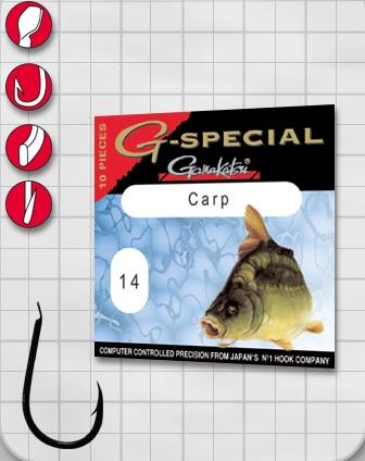 Крючок GAMAKATSU G-Special Carp B №12 (10шт.)Одноподдевные<br>Универсальный крючок для ловли карпа.<br>