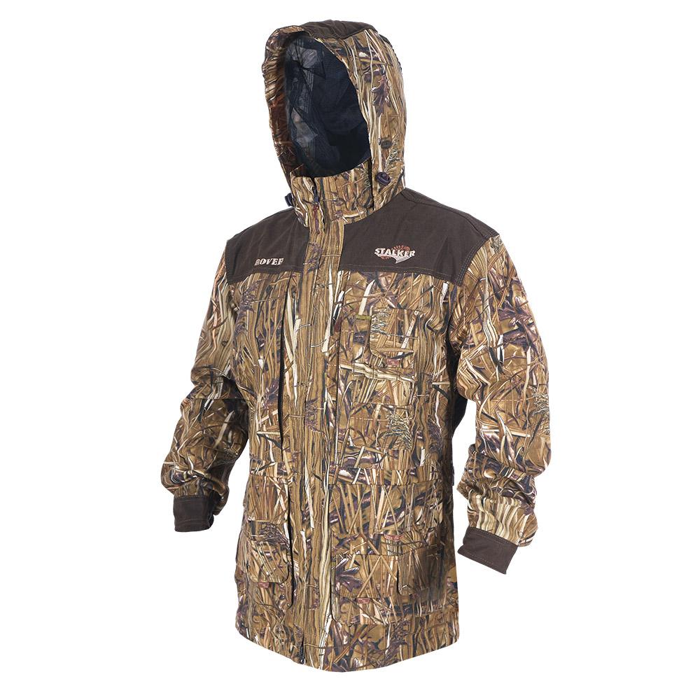 Штормовка ХСН Ровер-универсальная (9793-7) Куртки неутепленные<br>Идеально подходит для охоты, рыбалки, активного <br>отдыха. Штормовка изготовлена из не шуршащей <br>ткани с содержанием хлопка с водоотталкивающей <br>тефлоновой пропиткой. Комфортная температура <br>эксплуатации от +10°С до +20°С. Особенности: <br>- съемный утягивающийся капюшон; - вшитая <br>противомоскитная сетка; - застегивается <br>на молнию; - воротник - стойка; - манжеты на <br>пуговицах; - специальный крой рукавов, обеспечивающий <br>свободу движения; - усиленная ткань на плечах.<br><br>Пол: мужской<br>Размер: 50 - 52 / 182<br>Сезон: лето<br>Цвет: камуфляжный<br>Материал: Смесовая ткань с тефлоновой пропиткой