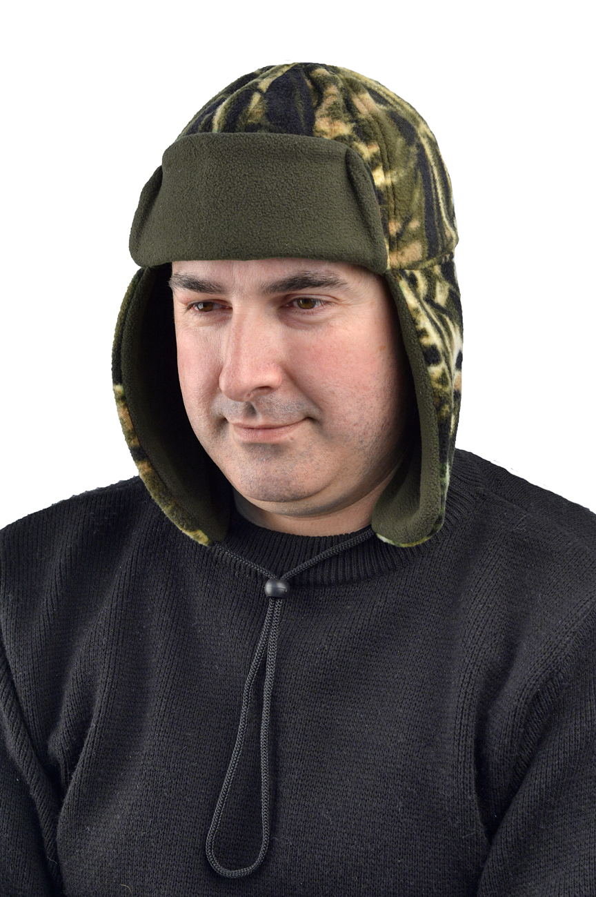 Шапка-ушанка Енисей флисовая (Неизвестная Шапки-ушанки<br>Ткань верха - флис камуфляжных расцветок <br>пл.250г/м2., подкладка - однотонный флис пл.250г/м2. <br>Конструктивные особенности: • три варианта <br>ношения • защищает уши и шею • плотно облегает <br>голову Различные варианты расцветок КМФ.<br><br>Пол: мужской<br>Сезон: зима<br>Материал: флис