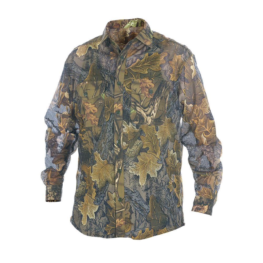 Рубашка ХСН «Таежный стиль» летняя длинный Рубашки д/рукав<br>Рубашка мужская подойдет для ношения летом. <br>На рубашке нашиты накладные карманы. Изготовлена <br>из полиэстера и хлопчатобумажной ткани. <br>Отлично вентилируется, не впитывает влагу.<br><br>Пол: мужской<br>Размер: 50/182-188<br>Сезон: лето<br>Цвет: коричневый<br>Материал: Сетка (твил)