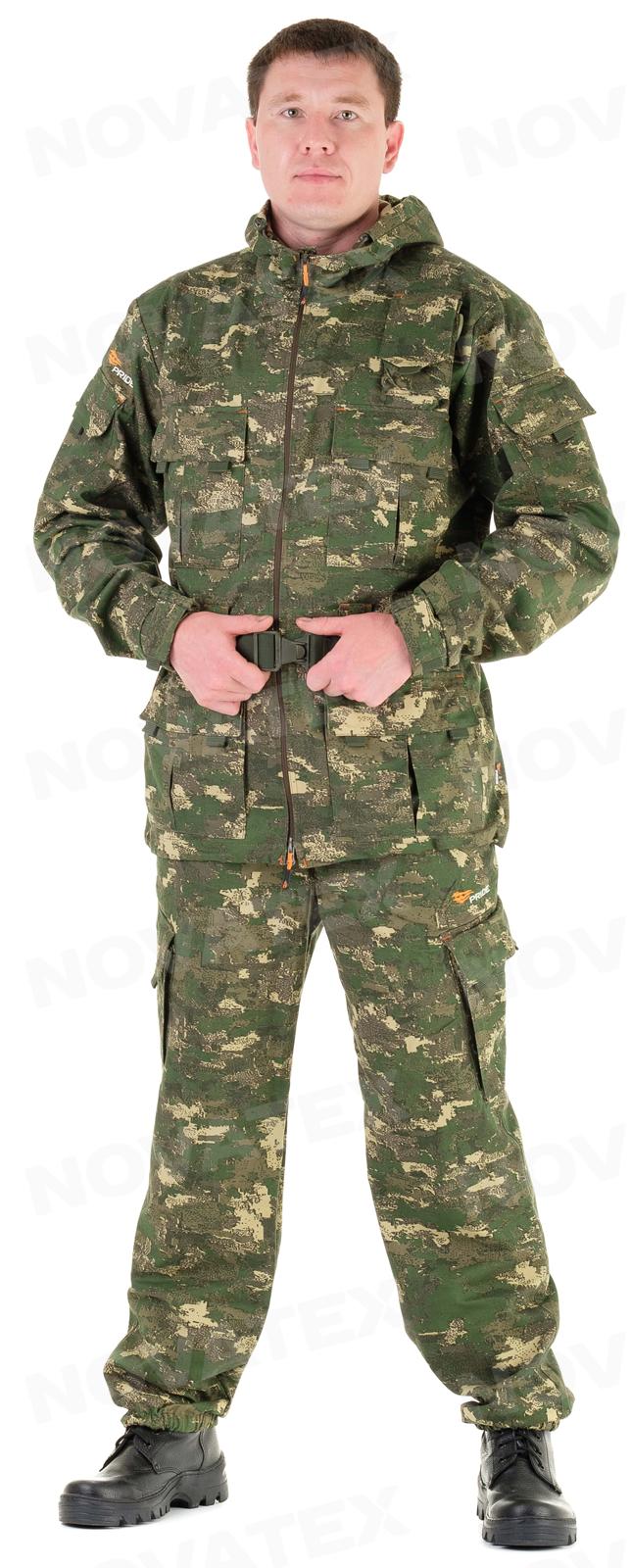 Костюм «Росомаха» (хлопок, сафари) PRIDE (60-62 Костюмы неутепленные<br>Ткань: 100% хлопок. Плотность: 250 г/кв.м. Многофункциональный <br>костюм «Росомаха» (ТМ «PRIDE») от Novatex для активного <br>отдыха. Состоит из удлиненной куртки и брюк-полукомбинезона. <br>В куртке четыре объемных накладных кармана <br>на кнопках, карман под рацию, два накладных <br>кармана на рукавах, внутренний карман на <br>контактной ленте. Широкие шлевки под тактический <br>ремень. На спинке куртка по талии собрана <br>на широкую резинку. Низ куртки утягивается. <br>Капюшон с утяжкой по овалу лица и по объему. <br>Манжеты рукавов на эластичной ленте, дополнительно <br>регулируются по объему. В брюках два накладных <br>кармана на кнопках, два кармана у пояса. <br>Низ брюк собран на резинку. Пояс брюк с эластичными <br>вставками по бокам, с шлевками под ремень, <br>застегивается на молнию и пуговицу. Спинка <br>легко отстегивается и полукомбинезон превращается <br>в брюки. Подтяжки регулируются по высоте, <br>имеют эластичные вставки для удобства. <br>Костюм «Росомаха» отлично подойдет для <br>охоты, рыбалки и туризма.<br><br>Пол: мужской<br>Сезон: лето<br>Цвет: зеленый