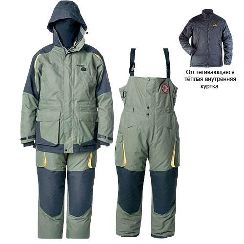 Костюм Зимний Norfin Extreme (XXXL, 325006-XXXL)Костюмы утепленные<br>Костюм зимний Norfin EXTREME, курт.(2в1),штаны/темп.-30град.С <br>Предназначен для эксплуатации при температуре <br>до -30°C. Универсальный костюм разработан <br>для любителей зимней рыбалки и активного <br>отдыха на природе. Особенность – отстегивающаяся <br>внутренняя куртка, которую можно носить <br>отдельно. КУРТКА - Проклеенные швы; - Отстегивающаяся <br>теплая внутренняя куртка; - Капюшон с козырьком; <br>- Высокий воротник с флисовой подкладкой; <br>- Двухзамковая застежка-молния YKK с клапаном; <br>- Теплый карман для мобильного телефона; <br>- Карманы для согрева рук; - Удобные карманы <br>внутри и снаружи; - Фиксатор, стягивающий <br>куртку в области талии; - Неопреновые манжеты. <br>ПОЛУКОМБИНЕЗОН - Регулируемые по длине <br>лямки с замками; - Двухзамковая застежка-молния <br>YKK с клапаном; - Регулировка верхней части <br>под требуемый объем; - Крючки для крепления <br>полотенца; - Удобные вместительные карманы; <br>- Застежки-молнии снизу брючин; - Усиление <br>материала в области колен и седалища; - Шлевки <br>под ремень.<br><br>Пол: мужской<br>Размер: XXXL<br>Сезон: зима<br>Цвет: зеленый