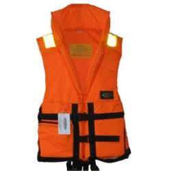 Жилет спасательный VOSTOK р.66-70 (оранж.)Спасательные жилеты<br>Спасательный жилет из ткани сигнальной <br>расцветки со светоотражающими полосами <br>(для легкого обнаружения в темноте). Позволяет <br>поддерживать человека на плаву долгое время. <br>Плавающий наполнитель НПЭ. Особенности <br>модели: - воротник стойка; - накладной карман <br>на замке; - свисток для вызова спасателей <br>в тумане и темное -боковые стяжки и паховые <br>ремни позволяют подогнать жилет по фигуре; <br>- хорошая плавучесть; - малый вес. Жилет прошел <br>испытания и имеет сертификат Государственной <br>инспекции по маломерным судам. Ткань: Oksford <br>210 Цвет: оранжевый<br>