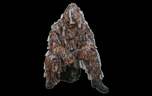 Костюм маскировочный Леший 100% полиэстер, Костюмы маскировочные<br>Костюм одевается по верх основной одежды <br>и идеален для охоты в зарослях пожухлой <br>травы, камыша и мелкого кустарника весной <br>и осенью. Костюм состоит из куртки и брюк. <br>Материал основы костюма – сетка из 100% полиэстера. <br>За счет крепежа маскировочного материала <br>в одной точке на ветру и при движении, силуэт <br>человека становится расплывчатым, создает <br>эффект объемного камуфляжа, затрудняя распознавание <br>и обнаружение охотника. Костюм выполнен <br>из мягкого, не производящего шума материала, <br>не блестит и не бликует на солнце. Не вызывает <br>аллергических реакций.<br><br>Пол: мужской<br>Размер: 60-62<br>Цвет: коричневый