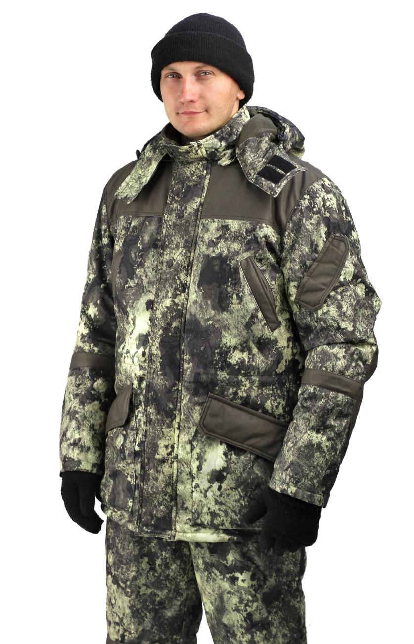 Костюм мужской «Горка-Буран» демисезонный Костюмы утепленные<br>Камуфлированный универсальный костюм <br>для охоты, рыбалки и активного отдыха при <br>низких температурах. Не шуршит. Состоит <br>из удлинненной куртки с капюшоном и полукомбинезона. <br>Куртка: Куртка: • Отстегивающийся и регулируемый <br>капюшон. • Центральная застежка молния <br>с ветрозащитной планкой и контактной лентой. <br>• Боковые и нагрудные накладные карманы <br>с клапанами. • Усиление в области локтей. <br>• Костюм оснащён объёмными карманами «антивор» <br>• Фиксированная регулировка по локтевым <br>частям рукава •Подкладка: стойки воротника, <br>капюшона, полочки , спинки, подкладка нижний <br>карманов флис 180 г/м2 • Подкладка рукава: <br>ткань подкладочная пл.190 г/м2 • Внутренние <br>трикотажные манжеты- напульсники Полукомбинезон: <br>• Закрывает грудь и спину. • Застежка с <br>двухзамковой молнией. • Боковые карманы. <br>• Бретели регулируемые. • Талия регулируется <br>резинкой • Наколенники с отверстиями для <br>амортизационных накладок. • Подкладка: <br>ткань подкладочная пл.190 г/м2 Синтепон 100г/м2 <br>- 1 слой в куртке, 1 слой в полукомбинезоне.<br><br>Пол: мужской<br>Размер: 52-54<br>Рост: 170-176<br>Сезон: демисезонный<br>Материал: Алова 100% полиэстер