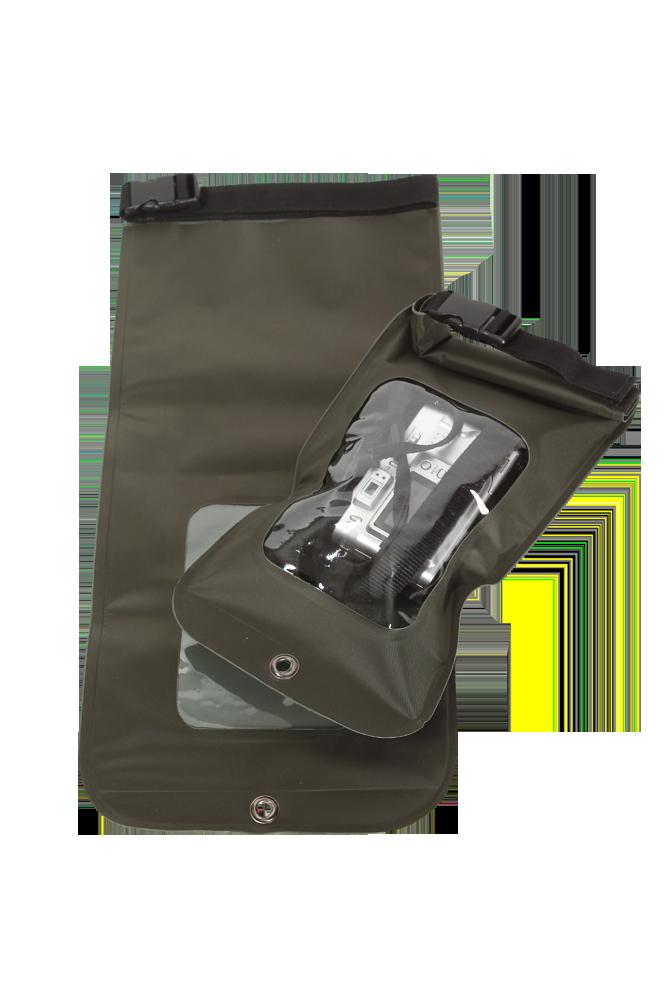 Водозащитный чехол для документов и гаджетов Чехлы<br>Чехол имеет прозрачное окно для просмотра <br>содержимого. В верхней части чехол кручивается <br>и застегивается на застежку - фастекс. Благодаря <br>такой конструкции и материалу чехол надежно <br>защищает содержимое от попадания влаги. <br>Цвет изделия: оливковый Упаковка: пакет <br>Материал изделия: легкий, водонепроницаемый <br>материал (полиэстер+пвх)<br><br>Цвет: оливковый<br>Материал: ПВХ