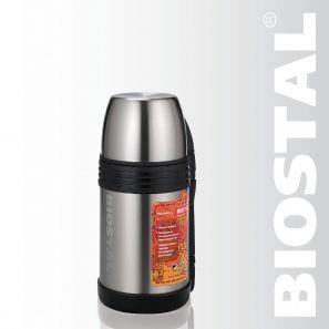 Термос Biostal Спорт NGP-800P 0,8л (универ. с ручкой)Термосы<br>Легкий и прочный Сохраняет напитки и продукты <br>горячими или холодными долгое время Изготовлен <br>из высококачественной нержавеющей стали <br>Корпус покрыт защитным прозрачным лаком <br>Конструкция пробки позволяет использовать <br>термос как для напитков, так и для первых <br>и вторых блюд С удобной ручкой и ремешком <br>для переноски С крышкой-чашкой и дополнительной <br>пластиковой чашкой Характеристики: Объем: <br>0,8 литра Высота: 20 см Диаметр: 11 см Вес: 780 <br>грамм Размеры упаковки: 12,5см x 12см x 21см<br>