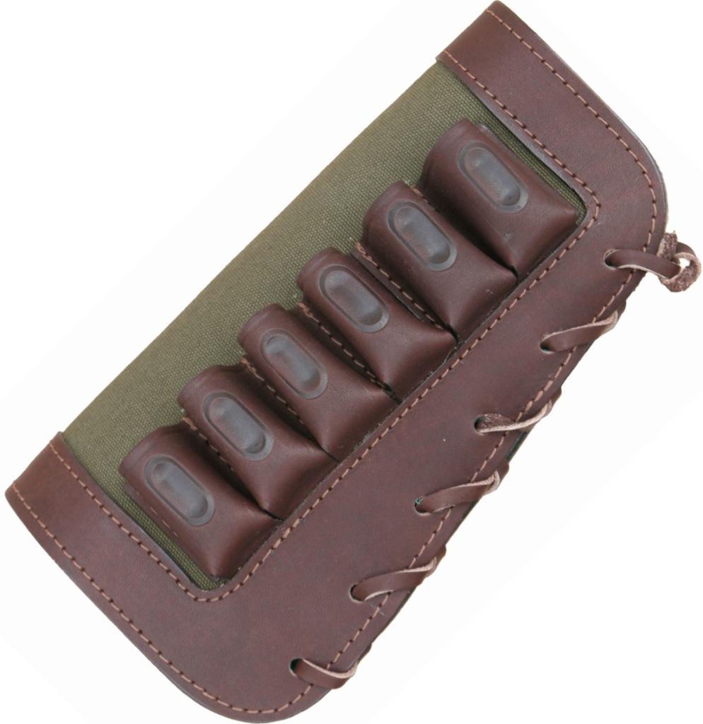 Патронташ ХСН на приклад «Хант» 12/6 (VIP)Патронташи<br>Особенности: - изготовлен в традиционной <br>форме; - кожа натурального сквозного прокраса; <br>- надежно держит патроны в лузах; - гильзы <br>длиной от 70 мм до 89 мм.<br><br>Сезон: Всесезонная<br>Цвет: хаки<br>Материал: Кожа/ткань