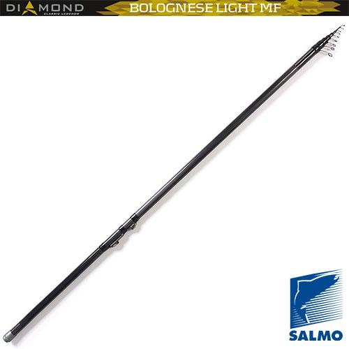 Удилище Поплавочное С Кольцами Salmo Diamond Удилища поплавочные<br>Удилище попл.с кол. Salmo Diamond BOLOGNESE LIGHT MF 6.01 <br>дл.6.00м/тест 3-15г/строй M/395г/6секц./дл.тр.137см <br>Высококачественное легкое удилище средне-быстрого <br>строя средней мощности, изготовленное из <br>графита Im7. Удилище укомплектовано облегченными <br>кольцами с высококачественными вставками <br>sIc и надежным катушкодержателем. Верхнее <br>колено имеет два дополнительных разгрузочных <br>кольца. • Материал бланка удилища - углеволокно <br>(Im7) • Строй бланка средний • Конструкция <br>телескопическая Кольца пропускные: - облегченные <br>- со вставками sIc • Рукоятка с противоскользящим <br>покрытием • Катушкодержатель быстродействующего <br>типа cLIP UP<br><br>Сезон: лето
