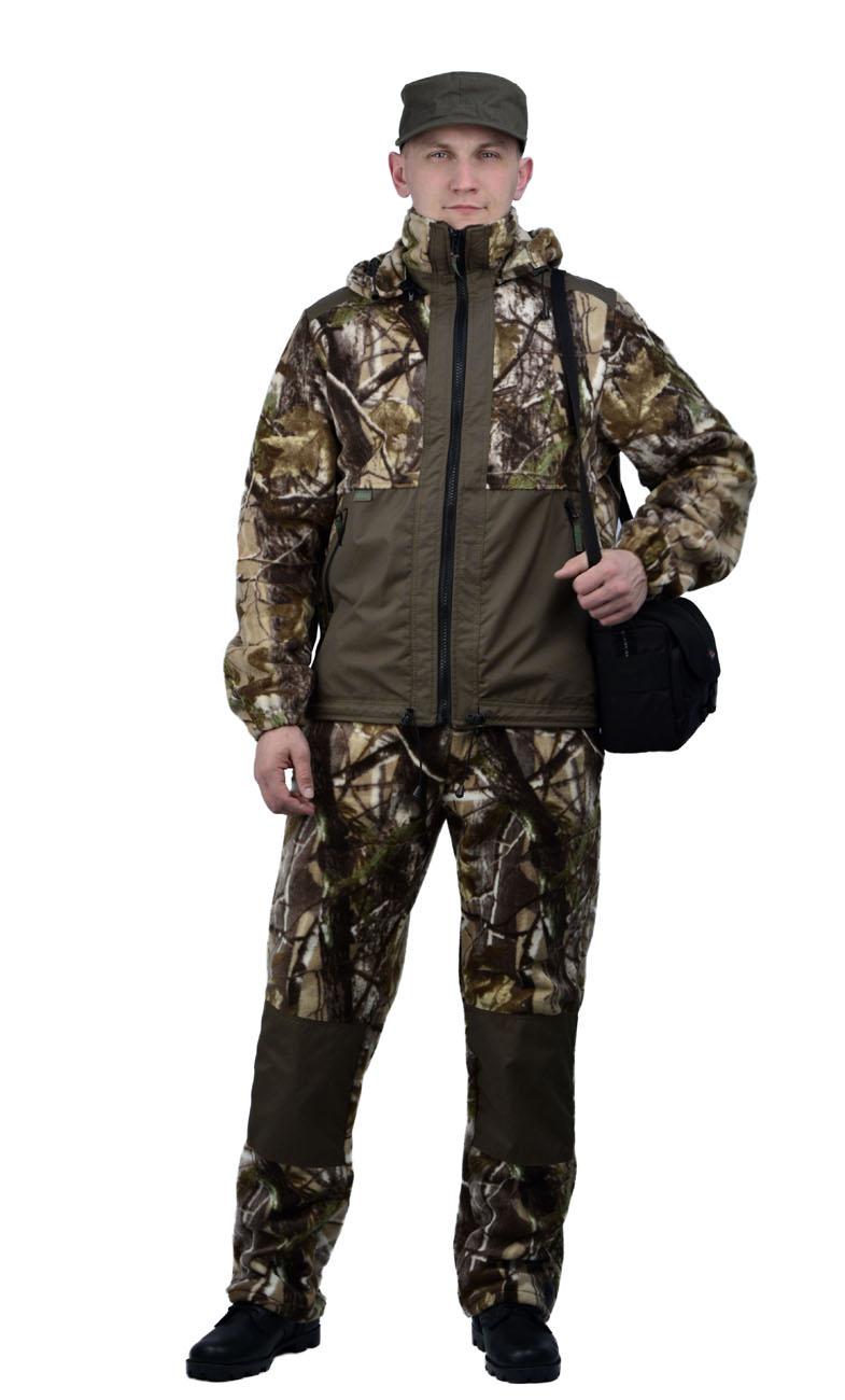 Флисовый костюм Панда кмф Смешанный лес Костюмы флисовые<br>Куртка мужская прямого силуэта из флиса <br>в комбинации с плащевой тканью. Длина изделия <br>до линии бедер. Полочка с центральной открытой <br>застежкой на тесьму-молнию, горизонтальным <br>членением и настрочной усиливающей кокеткой <br>на верхней части. Нижняя часть полочки с <br>настрочным усиливающим карманом. Вход в <br>карман обработан на тесьму-молнию. Спинка <br>со средним швом и усиливающей настрочной <br>кокеткой. Рукав втачной одношовный, с усиливающей <br>фигурной накладкой в области локтя. В низ <br>рукава вставлена тканево-резиновая тесьма. <br>По верхнему краю воротника-стойки и низу <br>изделия настрочена утягивающая кулиса. <br>Брюки свободного покроя с карманами в боковых <br>швах. Верхний срез брюк с цельновыкроенным <br>поясом, в пояс вставлена тканево-резиновая <br>тесьма, простроченная посередине. Наколенники <br>из отделочной ткани.<br><br>Пол: мужской<br>Размер: 40-42<br>Рост: 158-164<br>Сезон: лето<br>Материал: Флис, пл.350г/м2, антипилинговый