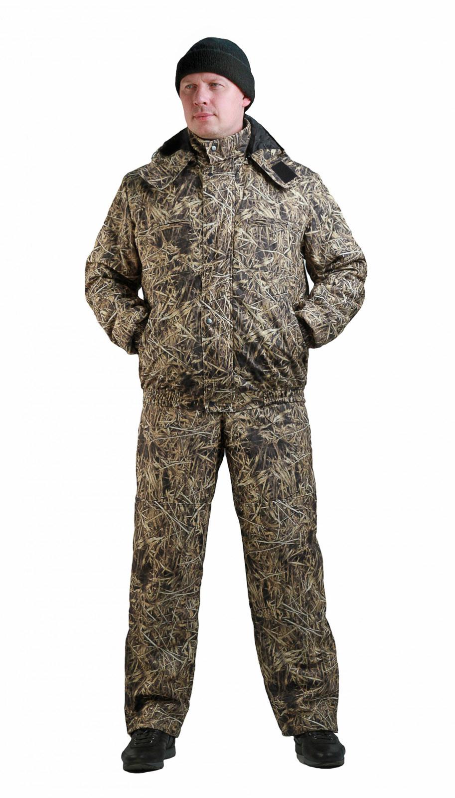 Костюм мужской Вихрь демисезонный кмф Костюмы неутепленные<br>Камуфлированный универсальный демисезонный <br>костюм для охоты, рыбалки и активного отдыха. <br>Состоит из укороченной куртки с капюшоном <br>и полукомбинезона. Куртка: • Регулируемый <br>капюшон - воротник на флисе. • Центральная <br>застежка молния закрыта ветрозащитной <br>планкой на кнопках. • Нижние прорезные <br>карманы на молнию, нагрудные накладные <br>карманы с клапаном на кнопке и накладной <br>карман с клапаном на кнопке на рукаве. • <br>Низ куртки и манжеты на широкой резинке. <br>Полукомбинезон • Высокая спинка и полочка <br>• Застежка центральная на молнию.. • Два <br>верхних прорезных кармана и один накладной <br>боковой с клапаном на кнопке • Талия регулируется <br>резинкой. • Низ брюк регулируется шнуром <br>с фиксатором.<br><br>Пол: мужской<br>Размер: 48-50<br>Рост: 170-176<br>Сезон: демисезонный<br>Цвет: коричневый<br>Материал: Алова (100% полиэстер) пл. 225 г/м.кв - трикот.полотно