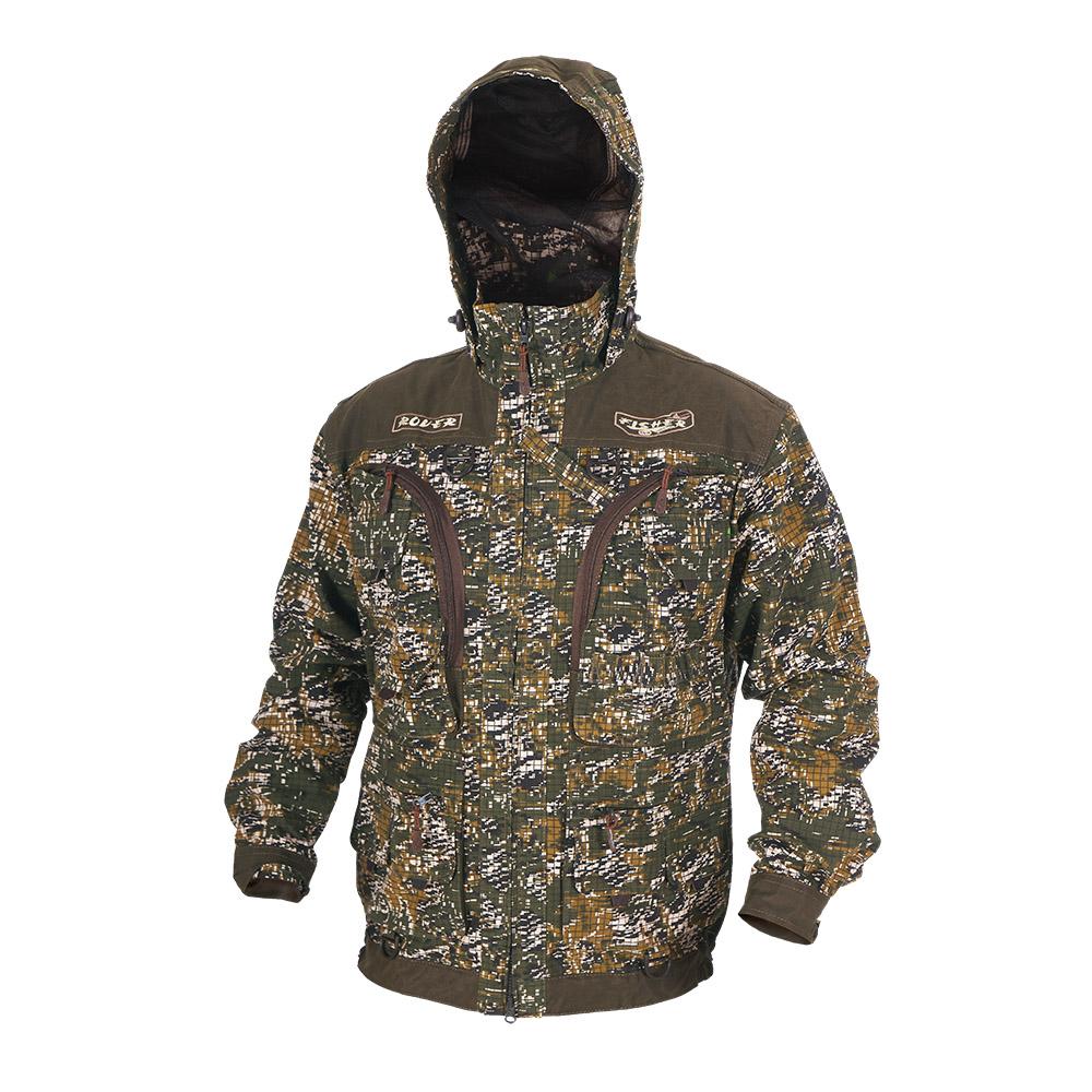 Куртка ХСН «Ровер-рыбак» (9791-0) (Цифра кмф, Куртки неутепленные<br>Идеально подойдет любителям рыбалки и <br>активного отдыха. Куртка изготовлена из <br>специального материала с содержанием хлопка, <br>который не шуршит при движении. Ткань обработана <br>водоотталкивающей тефлоновой пропиткой <br>для защиты от влаги. Особенности: - регулируемый <br>несъемный капюшон с противомоскитной сеткой; <br>- 10 шт. объемных карманов, в том числе под <br>рыболовные коробки; - особый крой рукавов, <br>обеспечивающий свободу движения; - манжеты <br>на пуговицах с возможностью регулировки <br>ширины; - специальная усиленная ткань на <br>плечах; - двойной джинсовый запошивочный <br>шов.<br><br>Пол: мужской<br>Размер: 46 - 48 / 170<br>Сезон: лето<br>Цвет: коричневый<br>Материал: Хлопкополиэфирная ткань