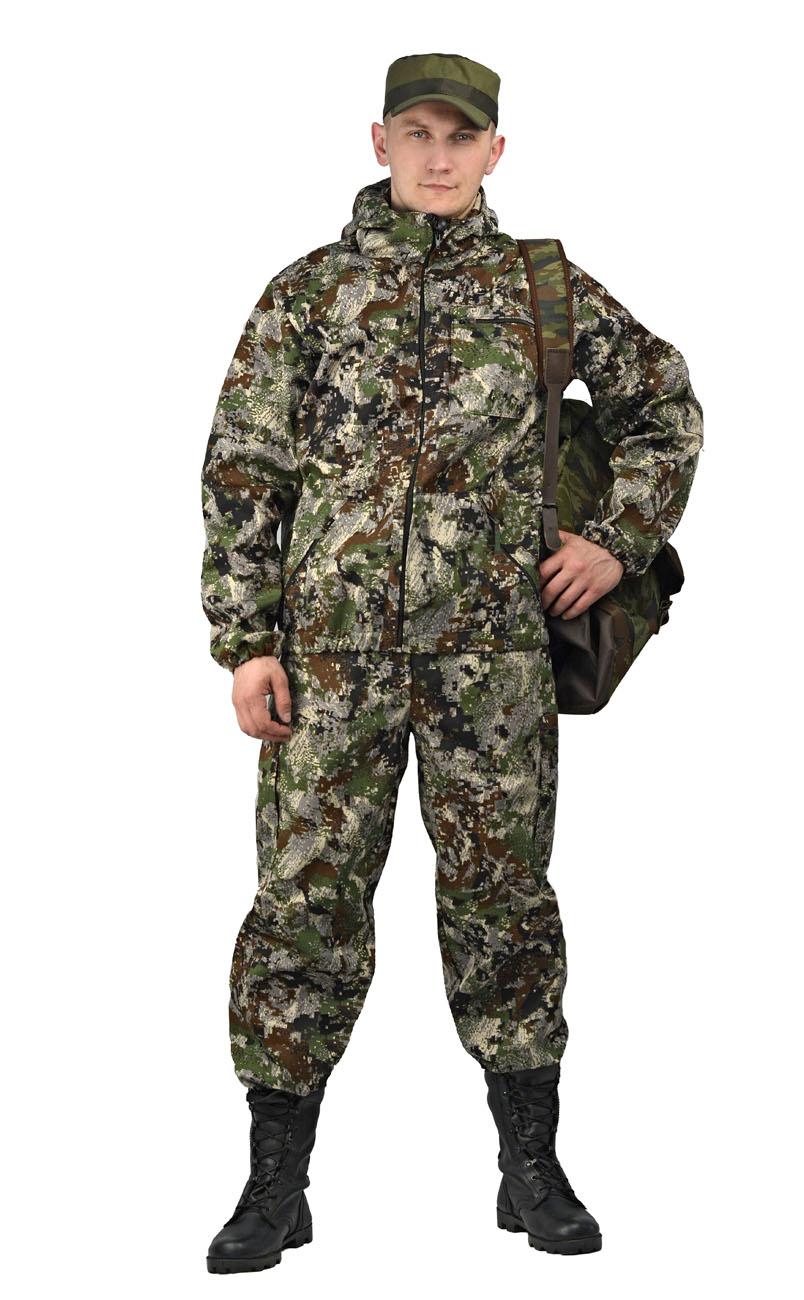 Костюм мужской Турист 1 летний, кмф тк. Костюмы неутепленные<br>Камуфлированный унверсальный летний костюм <br>для охоты, рыбалки и активного отдыха . Состоит <br>из куртки с капюшоном и брюк. Куртка: • Регулируемый <br>капюшон. • Центральная застежка молния. <br>• Боковые и нагрудный прорезные карманы <br>на молнии. • Низ куртки и манжеты на резинке. <br>Брюки: • Два врезных кармана и два накладных <br>на молнии. • Пояс и низ брюк на резинке.<br><br>Пол: мужской<br>Размер: 48-50<br>Рост: 170-176<br>Сезон: лето<br>Материал: Смесовая, пл. 210 г/м2,