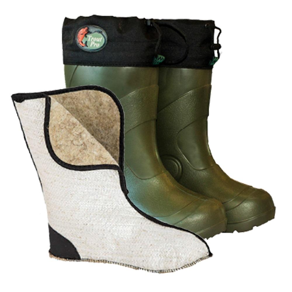 Сапоги зимние TROUT PRO Lake Ontario, размер 46-47 (ЭВА, Садки<br>Сапоги зимние TROUT PRO Lake Ontario, это супер легкая, <br>теплая и удобная зимняя обувь. Сапоги могут <br>использоваться на зимней рыбалке и охоте, <br>подойдут и для носки на даче, где в настоящее <br>время используются валенки.<br>