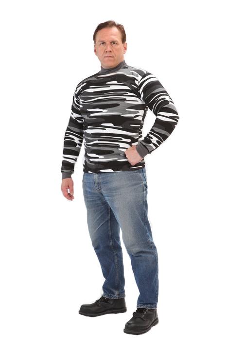 Толстовка кмф 3-нитка Город (серый кмф) Футболки д/рукав<br>Толстовка трикотажная прямого покроя. <br>Толстовка рассчитана на холодную и прохладную <br>погоду. - для средней активности - в составе <br>ткание 100% хлопок, очень хорошо сохраняет <br>тепло. Размеры: 46-62<br><br>Пол: мужской<br>Размер: 48<br>Сезон: демисезонный<br>Материал: Трикотажное полотно 100% хлопок плотная