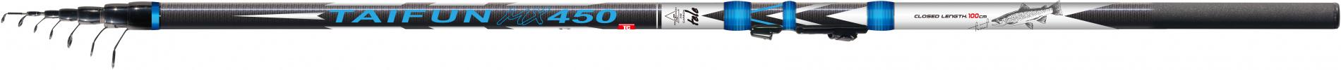 Удилище тел. SWD TAIFUN 4,5м с/к карбон IM8 (укороченное)Удилища поплавочные<br>Классическое болонское удилище с быстрым <br>строем. Материал бланка удилища – карбон <br>IM8. Длина удилища 4,5м. Комплектуется элегантными <br>облегченными кольцами с высококачественными <br>вставками SIC на высоких ножках, надежным <br>быстродействующим катушкодержателем типа <br>Clip Up и EVA вставкой в комле для предотвращения <br>повреждения проводочных колец. Верхнее <br>колено имеет дополнительное разгрузочное <br>кольцо. Транспортная длина 106см. Рекомендуется <br>для всех видов ловли.<br>