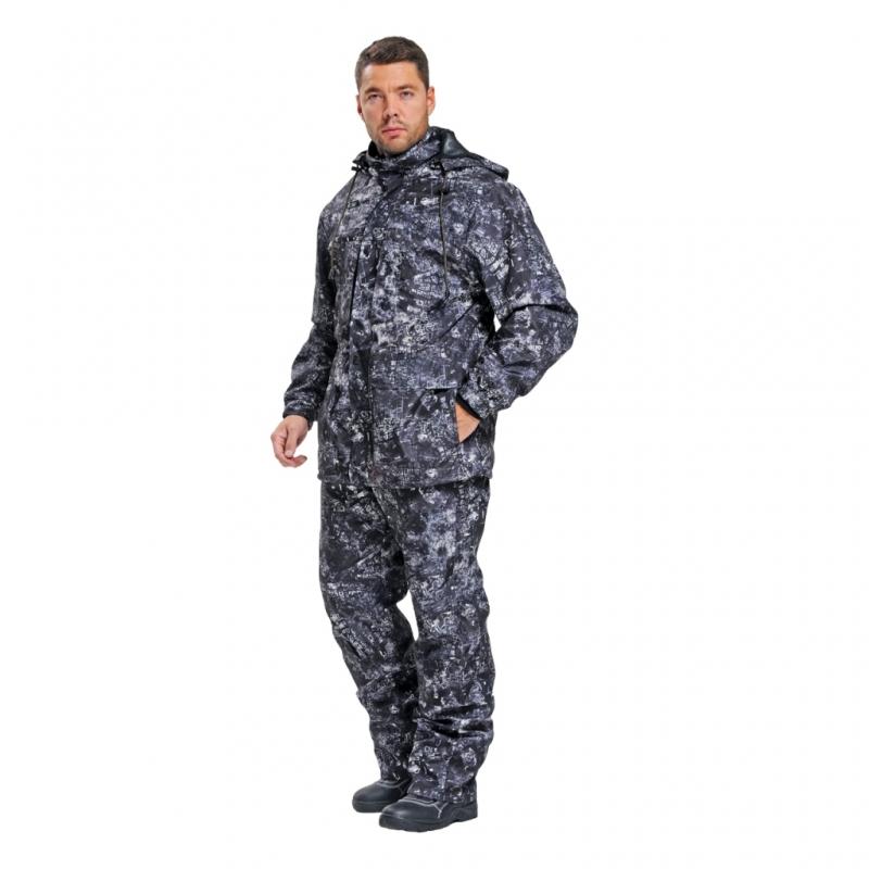 Костюм Sobol БЕКАС, Туман (56-58, 170-176)Костюмы неутепленные<br>Костюм разработан специально для любителей <br>активного отдыха, охоты и рыбалки. В куртке <br>и брюках имеется съемная флисовая подстежка, <br>которую можно носить отдельно. Изготовлен <br>из мембранной ткани, которая прекрасно <br>защитит от ветра и дождя. В комплект входит <br>куртка и брюки. КУРТКА: - застегивается на <br>молнию с ветрозащитным клапаном на кнопках; <br>- нагрудные карманы, застегивающиеся на <br>молнию; - нижние накладные карманы с двумя <br>входами; - регулировка объема с помощью <br>шнура внизу; - эластичные манжеты; - регулируемый <br>съемный капюшон. БРЮКИ: - эластичный пояс; <br>- увеличенная к среднему шву ширина пояса <br>для надежной защиты поясницы от холода <br>и ветра; - застежка - гульф на тесьму-молнию; <br>- боковые и задние карманы; - шлевки под ремень; <br>- возможность регулировки ширины брюк с <br>помощью шнура.<br><br>Пол: мужской<br>Размер: 56-58<br>Рост: 170-176<br>Сезон: демисезонный<br>Цвет: камуфляжный