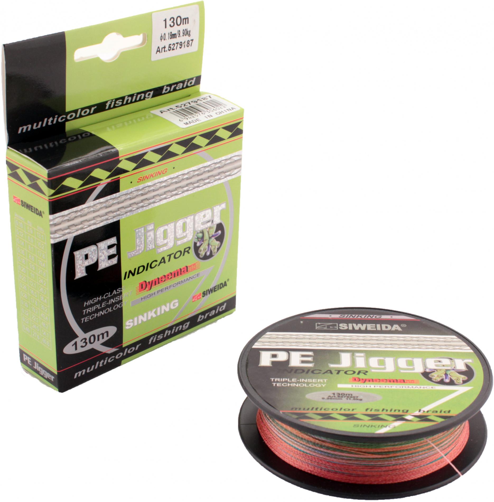 Леска плетеная SWD PE JIGGER INDICATOR 0,14 130м multicolor Леска плетеная<br>Пятицветный тонущий плетеный шнур, изготовленный <br>из волокна DYNEEMA, сечением 0,14мм (разрывная <br>нагрузка 8,10кг) и длиной 130м. Благодаря микроволокнам <br>полиэтилена (Super PE) шнур имеет очень плотное <br>плетение, не впитывает воду, имеет гладкую <br>поверхность и одинаковое сечение по всей <br>длине. Отличается практически нулевой растяжимостью, <br>что позволяет полностью контролировать <br>спиннинговую приманку. Длина куска одного <br>цвета - 10м. Это позволяет рыболовам точно <br>контролировать дальность заброса приманки. <br>Подходит для всех видов ловли хищника.<br>