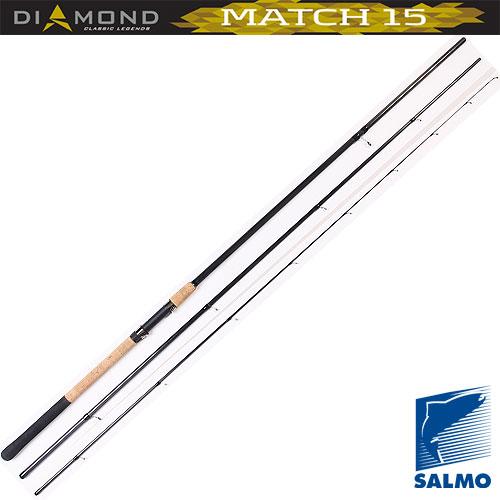 Удилище Матчевое Salmo Diamond Match 15 4.21Удилища матчевые<br>Удилище матч. Salmo Diamond MATCH 15 4.21 дл.4.20м/тест <br>4-15г/строй М/212г/3ч./дл.тр.145см Классическое <br>трехколенное удилище для матчевой ловли <br>со стыком колен по типу Over Stek. Бланк среднего <br>строя, изготовлен из графита марки IM7 и укомплектован <br>высокими пропускными кольцами со вставками <br>SIC. Комбинированная рукоятка из пробки и <br>неопрена имеет винтовой катушкодержатель <br>с нижней гайкой крепления и резиновым буфером <br>на торце. • Материал бланка удилища – углеволокно <br>(IM7) • Строй бланка средний • Конструкция <br>штекерная • Соединение колен типа OVER STEEK <br>Кольца пропускные: - на высоких ножках - <br>со вставками SIC • Рукоятка комбинированная <br>• Катушкодержатель винтового типа<br><br>Сезон: лето