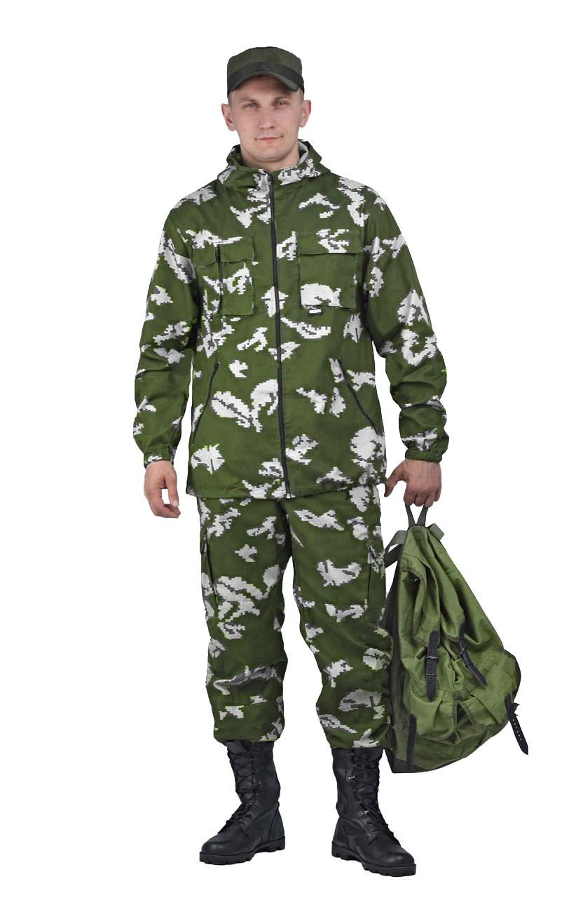 Костюм мужской Турист 2 летний кмф Твилл Костюмы неутепленные<br>Камуфлированный универсальный летний <br>костюм для охоты, рыбалки и активного отдыха <br>. Состоит из удлинённой куртки с капюшоном <br>и брюк. Куртка: • Регулируемый капюшон. <br>• Центральная застежка молния. • Нагрудные <br>объемные накладные карманы и боковые прорезные <br>карманы на молнии. • Манжеты на резинке. <br>• Для большего комфорта под проймой имеются <br>вентиляционные отверстия Брюки: •Гульфик <br>брюк на молнии. На поясе брюк вставки из <br>эластичной ленты. •Низ штанин регулируется <br>эластичным шнуром. •Удобные объёмные боковые <br>карманы • Фукциональная сумка для хранения <br>костюма.<br><br>Пол: мужской<br>Размер: 56-58<br>Рост: 170-176<br>Сезон: лето<br>Материал: Смесовая (65% полиэфир, 35% хлопок), пл. 210 г/м2,